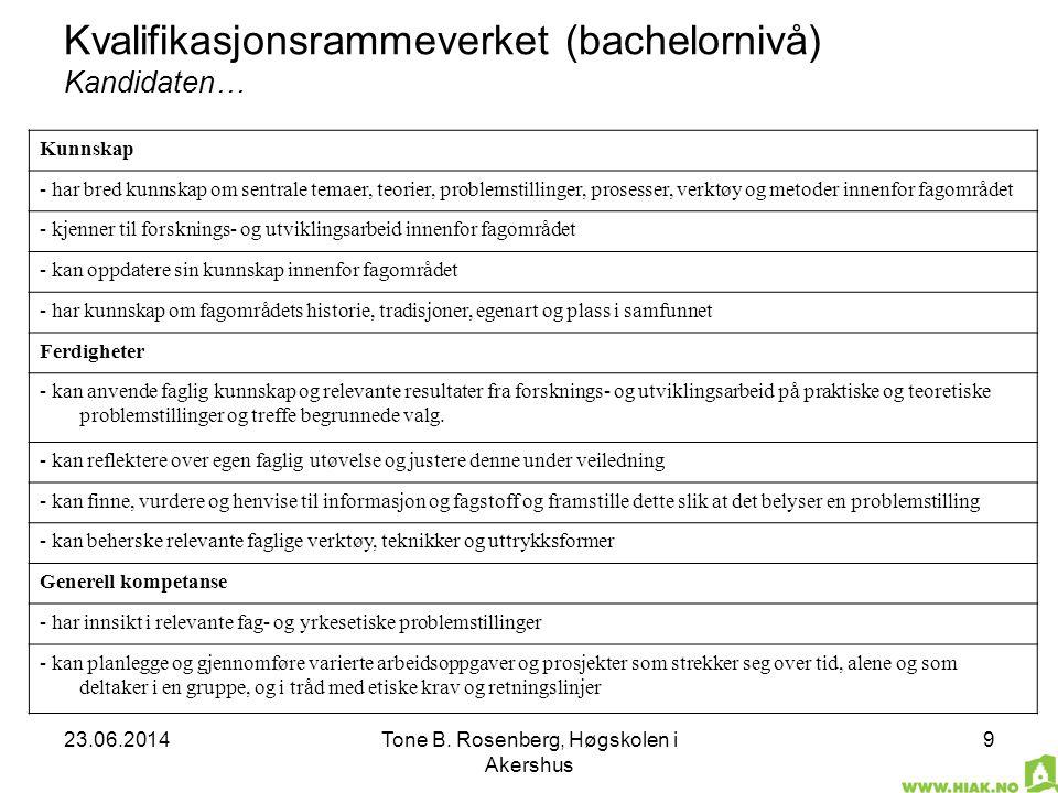 23.06.2014Tone B. Rosenberg, Høgskolen i Akershus 9 Kvalifikasjonsrammeverket (bachelornivå) Kandidaten… Kunnskap - har bred kunnskap om sentrale tema