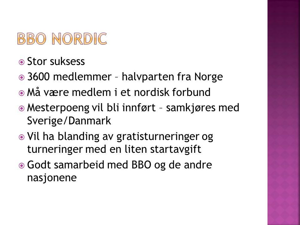  Stor suksess  3600 medlemmer – halvparten fra Norge  Må være medlem i et nordisk forbund  Mesterpoeng vil bli innført – samkjøres med Sverige/Danmark  Vil ha blanding av gratisturneringer og turneringer med en liten startavgift  Godt samarbeid med BBO og de andre nasjonene