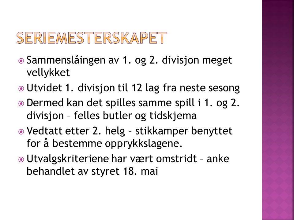  Sammenslåingen av 1. og 2. divisjon meget vellykket  Utvidet 1.