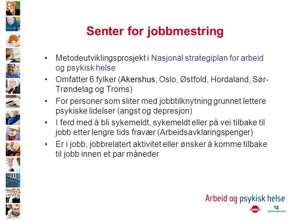 Senter for jobbmestring •Metodeutviklingsprosjekt i Nasjonal strategiplan for arbeid og psykisk helse •Omfatter 6 fylker (Akershus, Oslo, Østfold, Hor