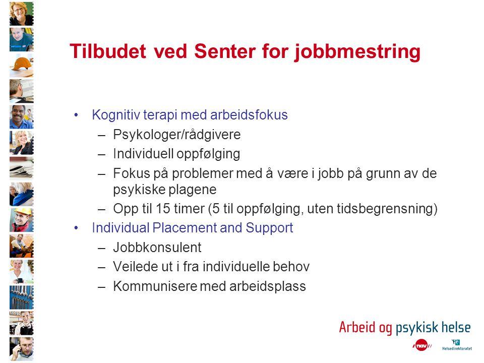 Tilbudet ved Senter for jobbmestring •Kognitiv terapi med arbeidsfokus –Psykologer/rådgivere –Individuell oppfølging –Fokus på problemer med å være i
