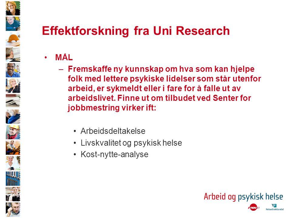 Effektforskning fra Uni Research •MÅL –Fremskaffe ny kunnskap om hva som kan hjelpe folk med lettere psykiske lidelser som står utenfor arbeid, er syk