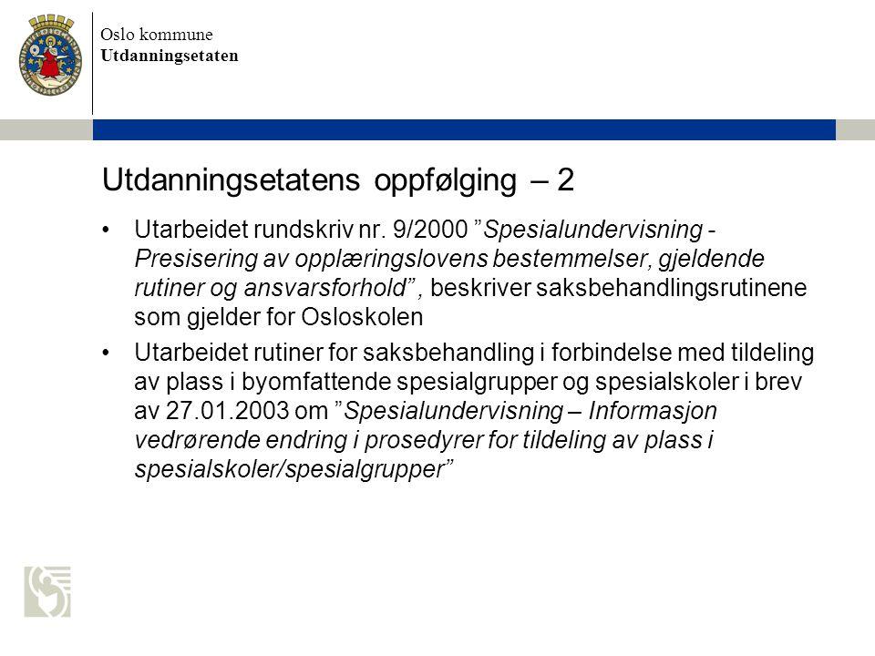 Oslo kommune Utdanningsetaten Utdanningsetatens oppfølging – 2 •Utarbeidet rundskriv nr.