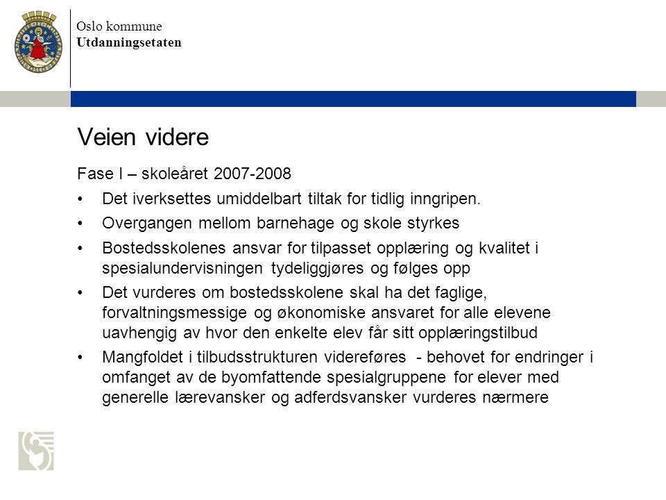 Oslo kommune Utdanningsetaten Veien videre Fase I – skoleåret 2007-2008 •Det iverksettes umiddelbart tiltak for tidlig inngripen.