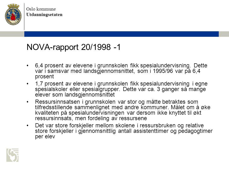 Oslo kommune Utdanningsetaten NOVA-rapport 20/1998 -2 •I grunnskolen ble det brukt om lag like mange timer med assistent som timer med pedagog.
