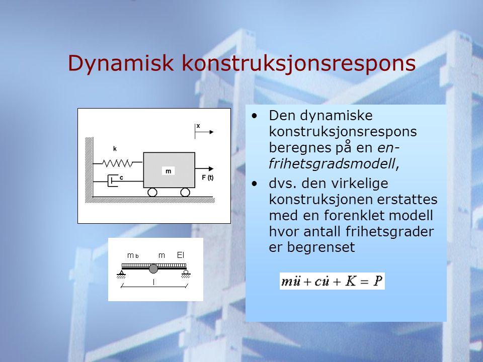 Dynamisk konstruksjonsrespons •Den dynamiske konstruksjonsrespons beregnes på en en- frihetsgradsmodell, •dvs.