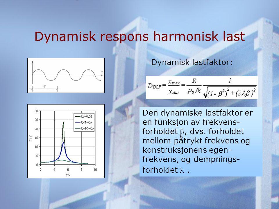 Dynamisk respons harmonisk last Den dynamiske lastfaktor er en funksjon av frekvens- forholdet , dvs.