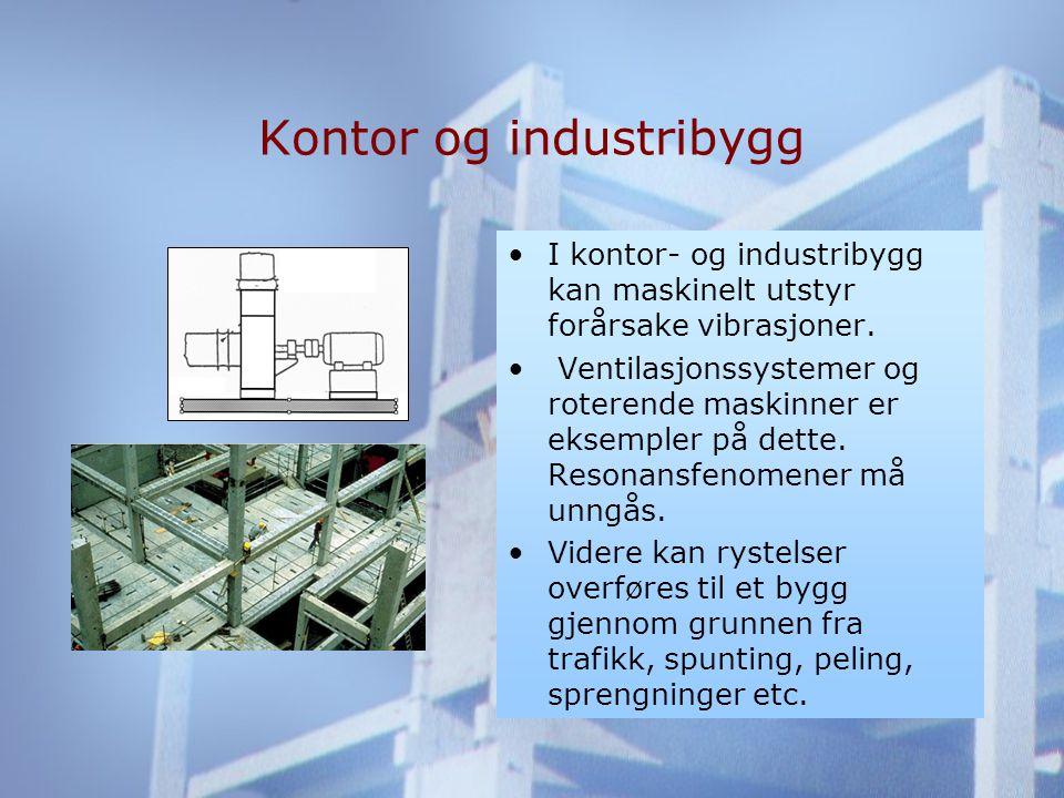 Kontor og industribygg •I kontor- og industribygg kan maskinelt utstyr forårsake vibrasjoner.