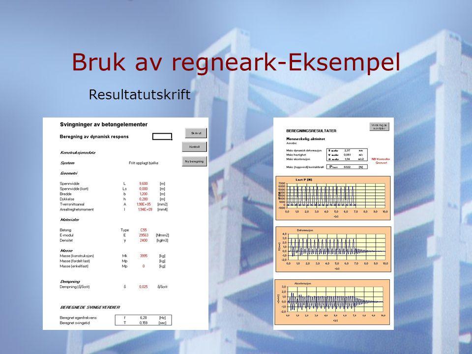 Bruk av regneark-Eksempel Resultatutskrift