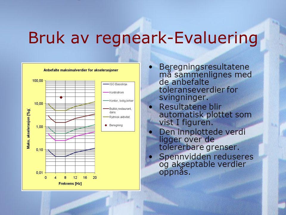Bruk av regneark-Evaluering •Beregningsresultatene må sammenlignes med de anbefalte toleranseverdier for svingninger.