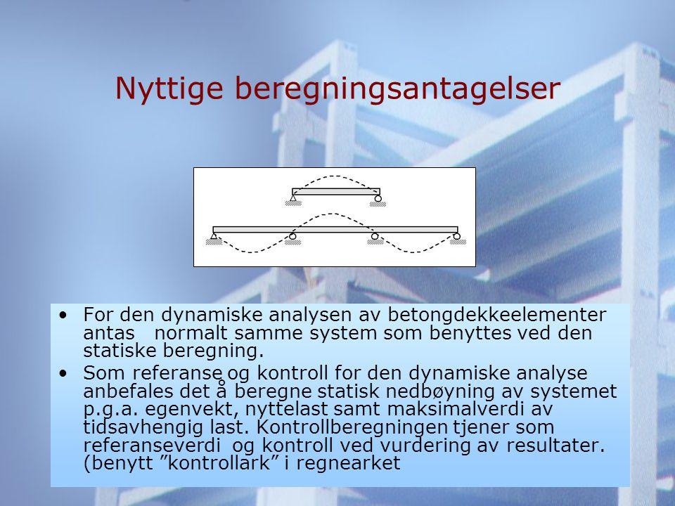 Nyttige beregningsantagelser •For den dynamiske analysen av betongdekkeelementer antas normalt samme system som benyttes ved den statiske beregning.
