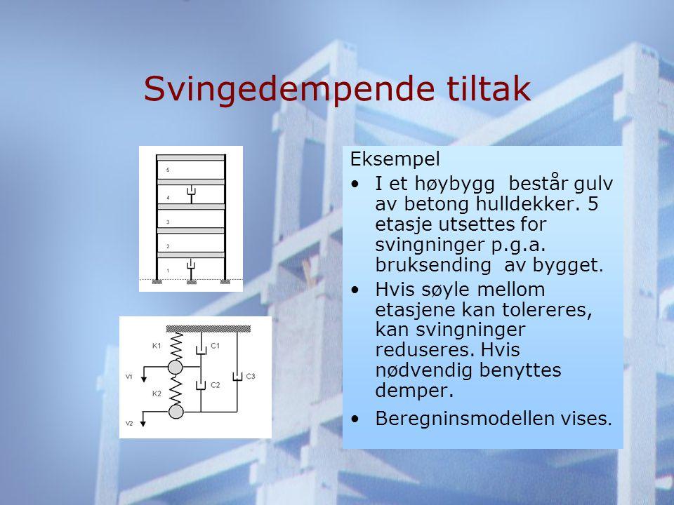 Svingedempende tiltak Eksempel •I et høybygg består gulv av betong hulldekker.