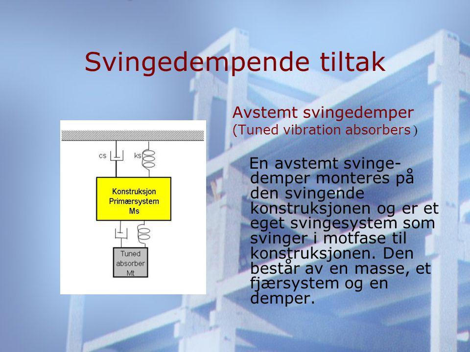 Svingedempende tiltak Avstemt svingedemper (Tuned vibration absorbers ) En avstemt svinge- demper monteres på den svingende konstruksjonen og er et eget svingesystem som svinger i motfase til konstruksjonen.