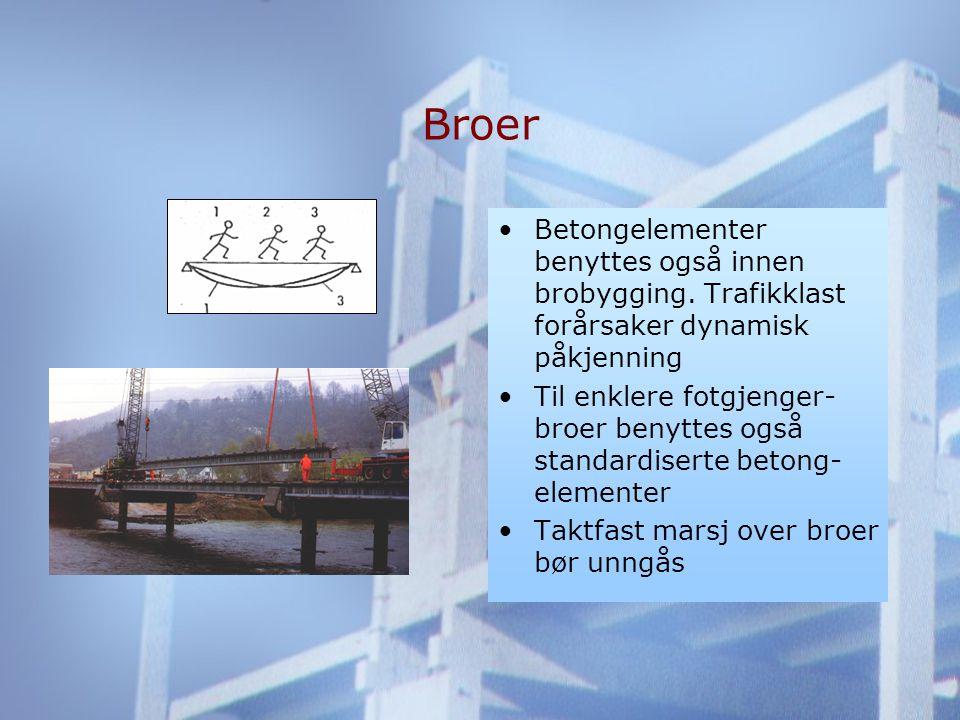 Broer •Betongelementer benyttes også innen brobygging.