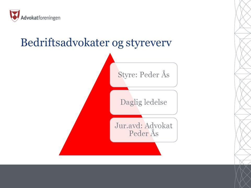 Bedriftsadvokater og styreverv Styre: Peder ÅsDaglig ledelse Jur.avd: Advokat Peder Ås