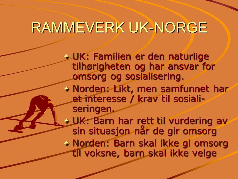 RAMMEVERK UK-NORGE UK: Familien er den naturlige tilhørigheten og har ansvar for omsorg og sosialisering. Norden: Likt, men samfunnet har et interesse
