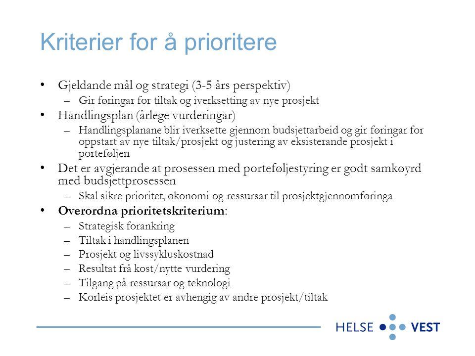 Kriterier for å prioritere •Gjeldande mål og strategi (3-5 års perspektiv) –Gir føringar for tiltak og iverksetting av nye prosjekt •Handlingsplan (år