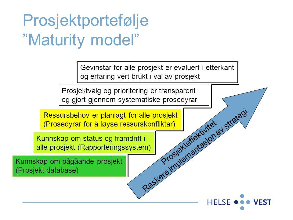 """Prosjektportefølje """"Maturity model"""" Kunnskap om pågåande prosjekt (Prosjekt database) Kunnskap om status og framdrift i alle prosjekt (Rapporteringssy"""