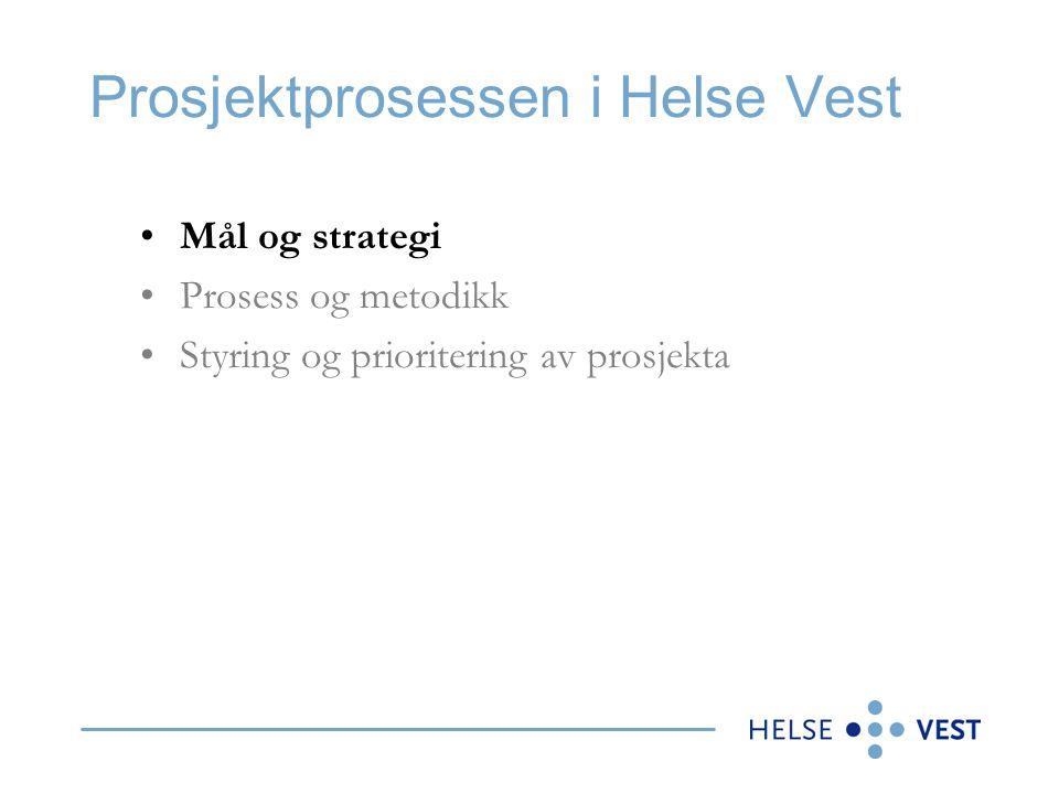 Prosjektprosessen i Helse Vest •Mål og strategi •Prosess og metodikk •Styring og prioritering av prosjekta