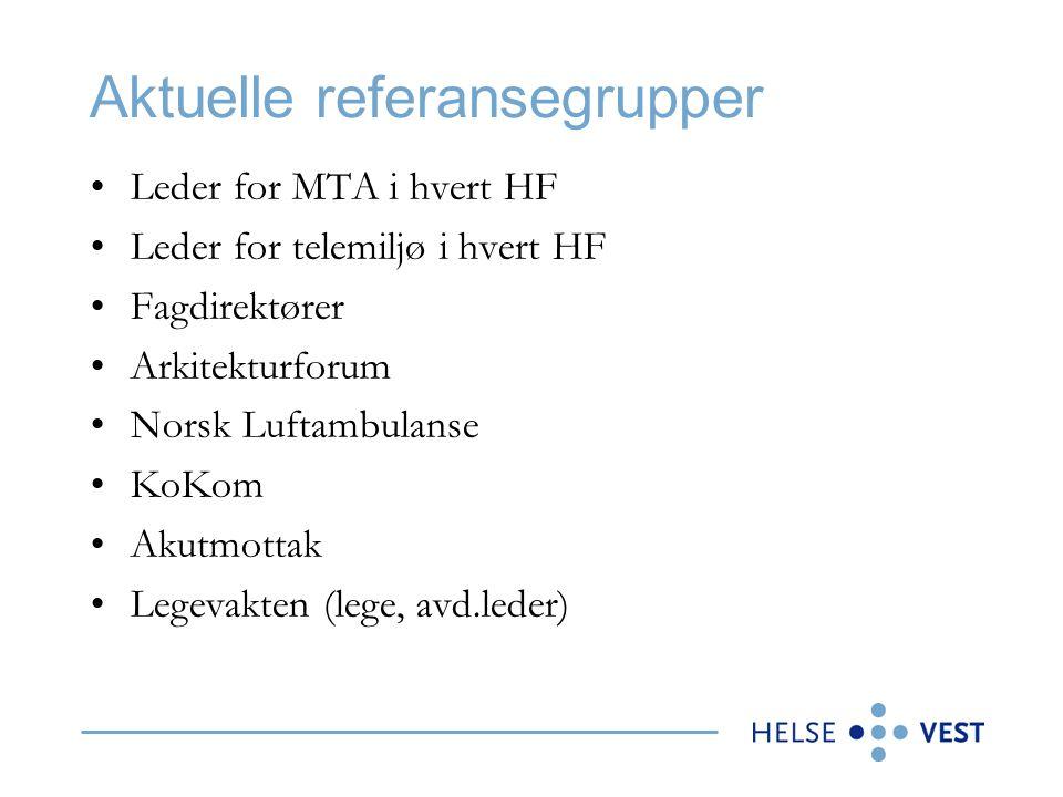 Aktuelle referansegrupper •Leder for MTA i hvert HF •Leder for telemiljø i hvert HF •Fagdirektører •Arkitekturforum •Norsk Luftambulanse •KoKom •Akutm