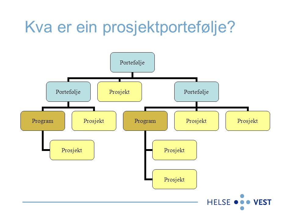 Kva er ein prosjektportefølje? Portefølje Program Prosjekt Portefølje Program Prosjekt
