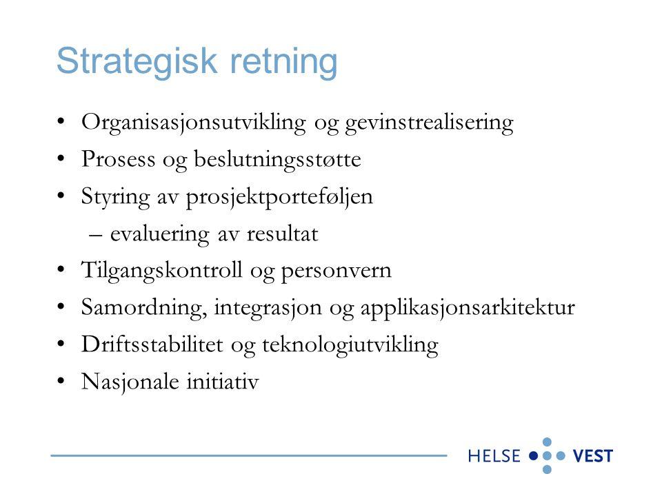 Strategisk retning •Organisasjonsutvikling og gevinstrealisering •Prosess og beslutningsstøtte •Styring av prosjektporteføljen –evaluering av resultat