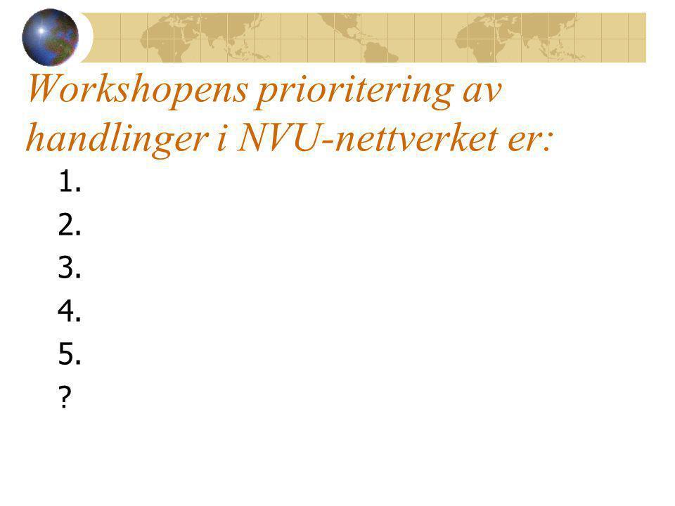 Workshopens prioritering av handlinger i NVU-nettverket er: 1. 2. 3. 4. 5.
