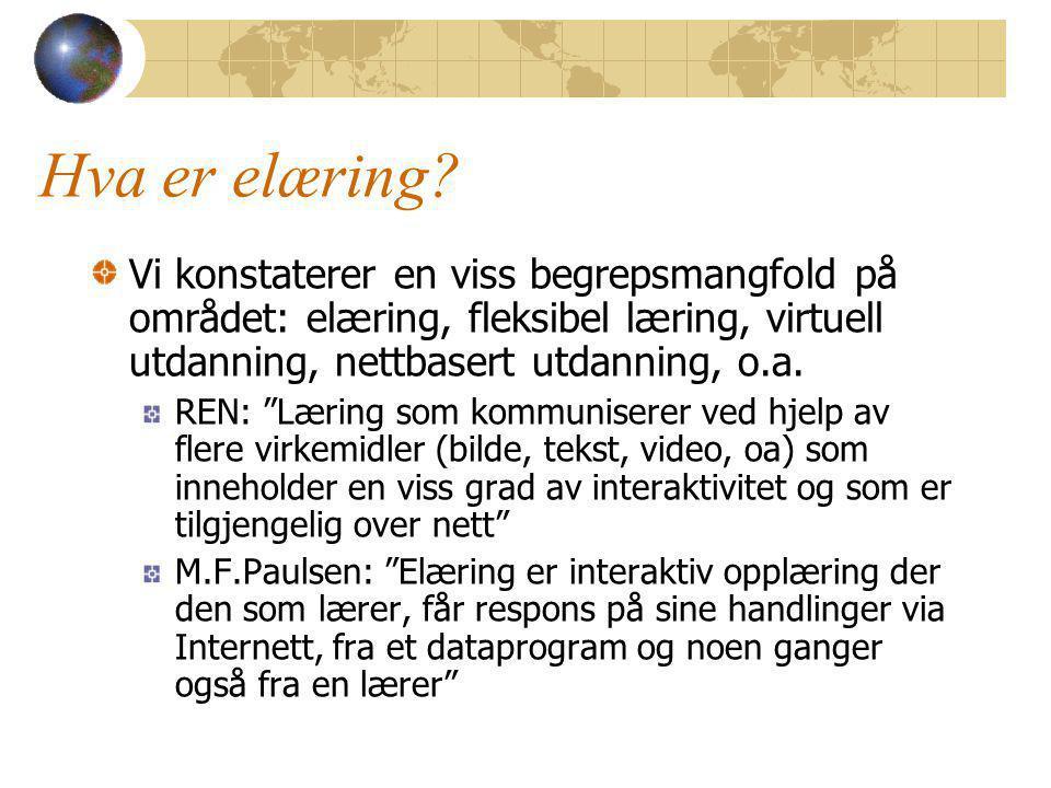 Hva skjer av FoU innen elæring i våre egne virksomheter.