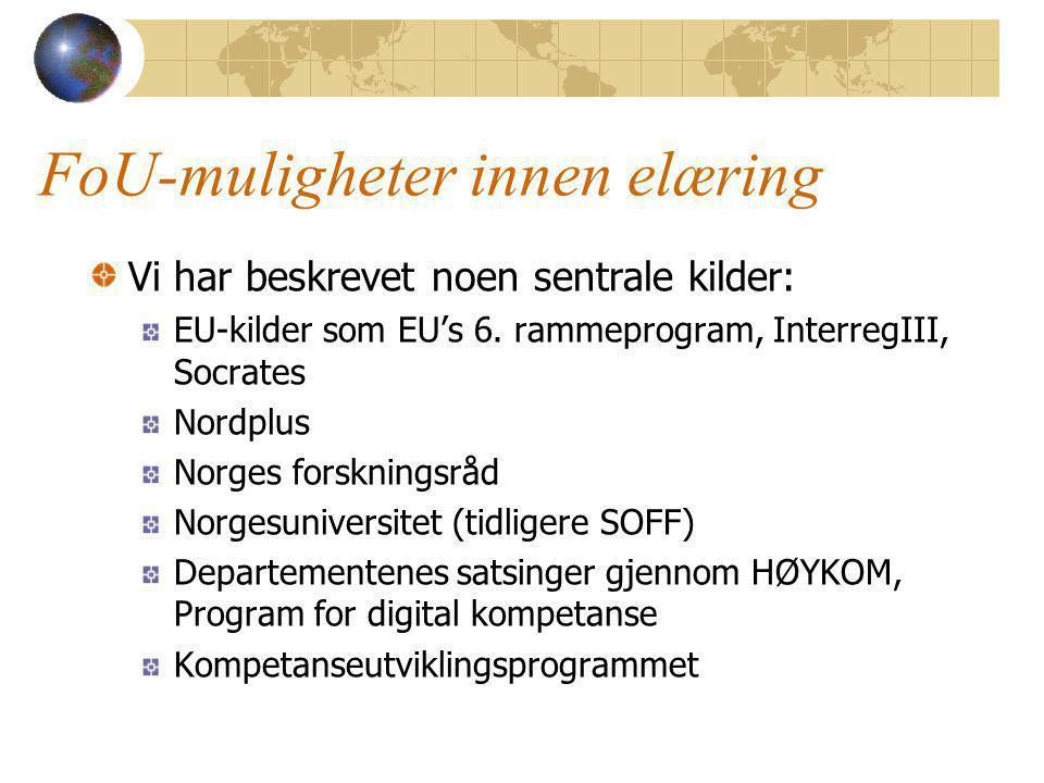 FoU-muligheter innen elæring Vi har beskrevet noen sentrale kilder: EU-kilder som EU's 6.