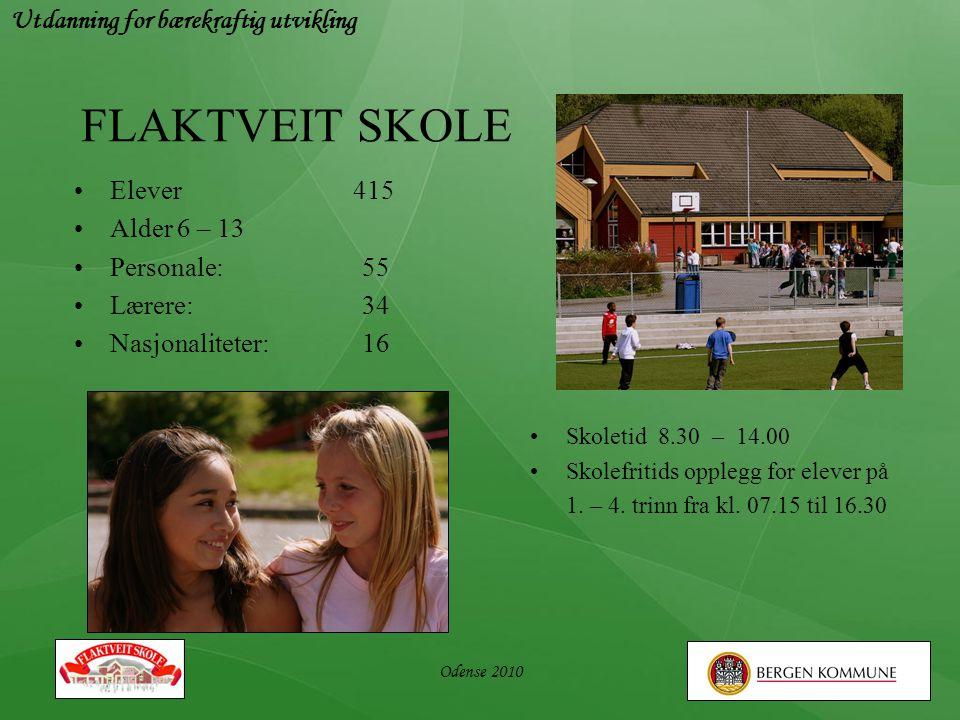 FLAKTVEIT SKOLE •Elever 415 •Alder 6 – 13 •Personale: 55 •Lærere:34 •Nasjonaliteter:16 • Skoletid 8.30 – 14.00 • Skolefritids opplegg for elever på 1.