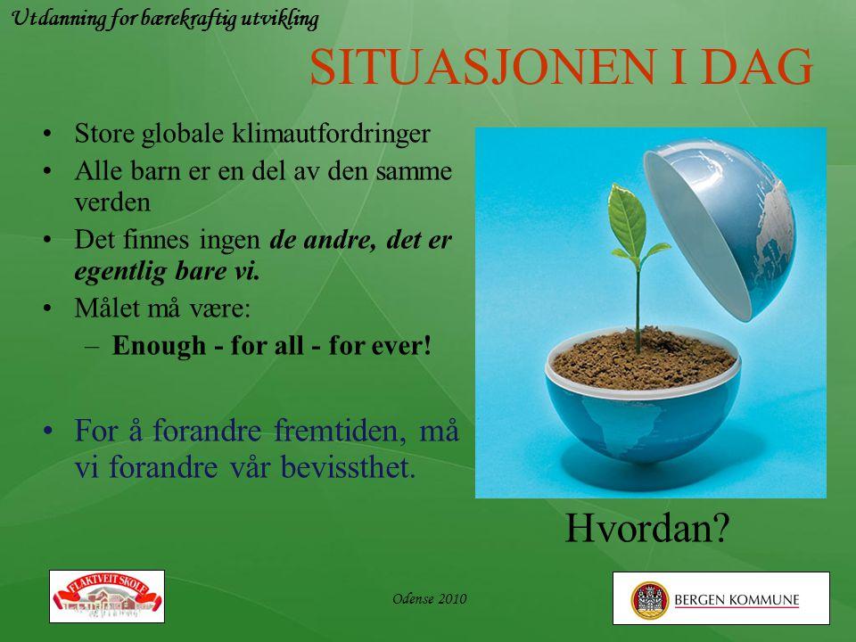 Utdanning for bærekraftig utvikling Odense 2010 SITUASJONEN I DAG •Store globale klimautfordringer •Alle barn er en del av den samme verden •Det finne