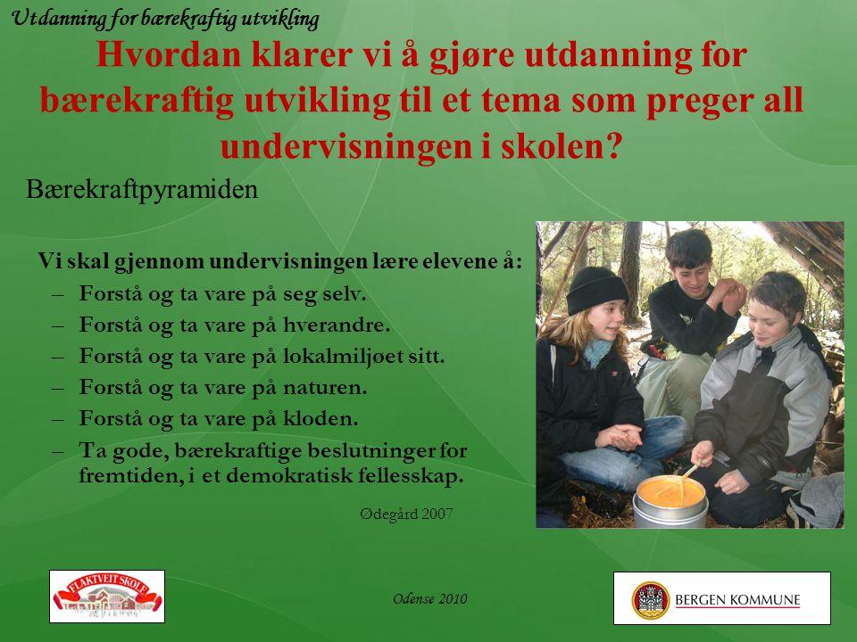 Utdanning for bærekraftig utvikling Odense 2010 Hvordan klarer vi å gjøre utdanning for bærekraftig utvikling til et tema som preger all undervisninge