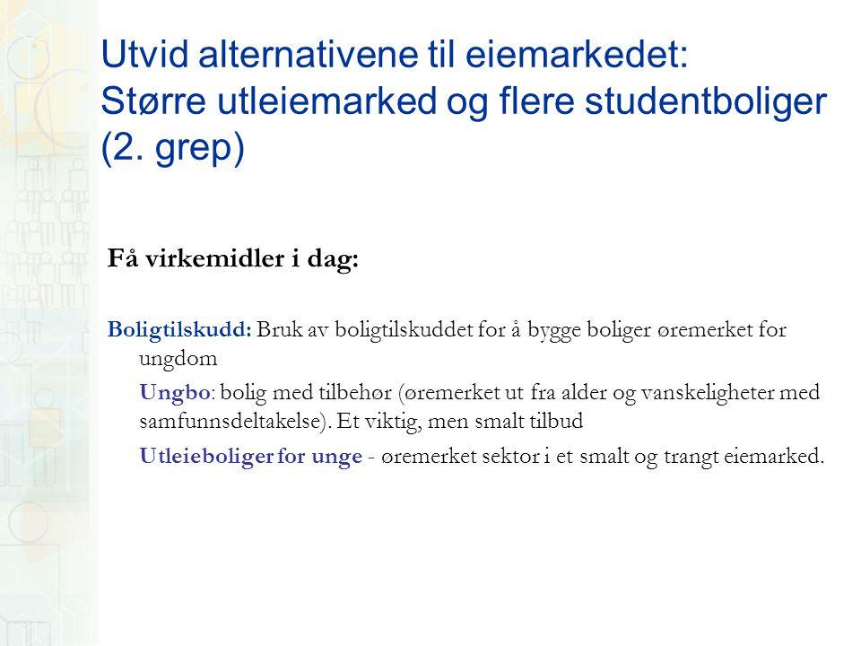 Utvid alternativene til eiemarkedet: Større utleiemarked og flere studentboliger (2.
