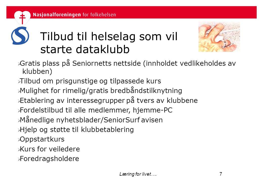 Læring for livet…. 7 Tilbud til helselag som vil starte dataklubb  Gratis plass på Seniornetts nettside (innholdet vedlikeholdes av klubben)  Tilbud