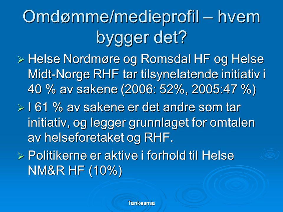 Tankesmia Omdømme/medieprofil – hvem bygger det?  Helse Nordmøre og Romsdal HF og Helse Midt-Norge RHF tar tilsynelatende initiativ i 40 % av sakene