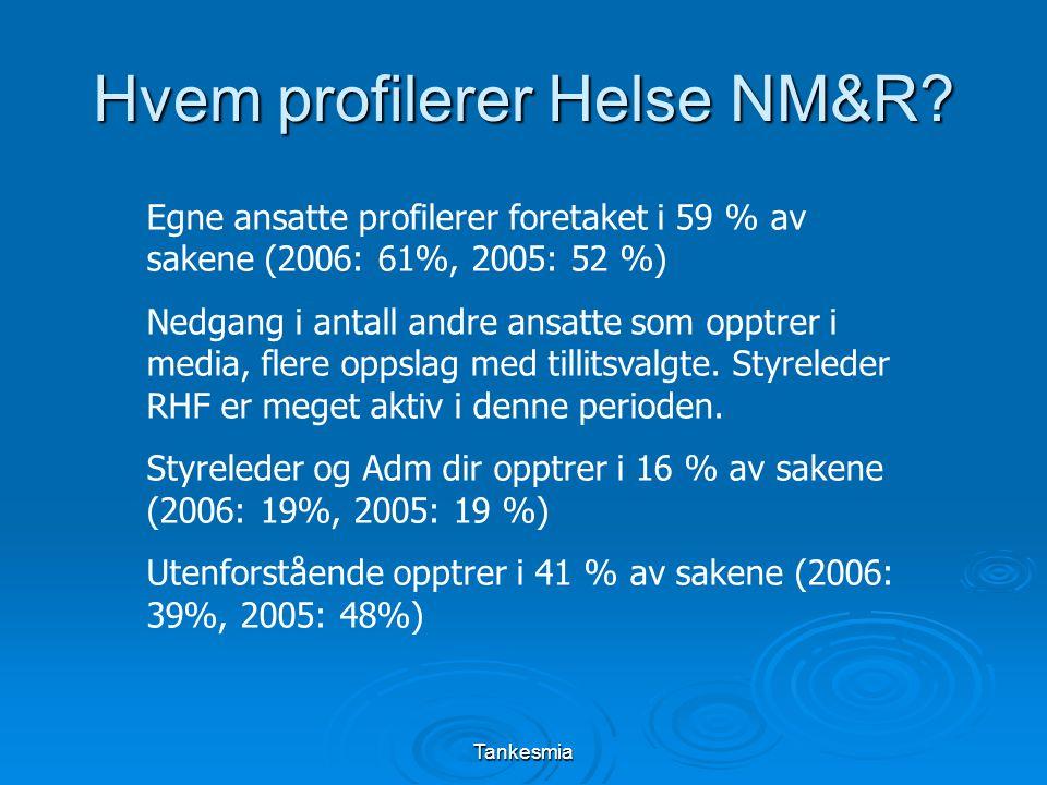 Tankesmia Hvem profilerer Helse NM&R? Egne ansatte profilerer foretaket i 59 % av sakene (2006: 61%, 2005: 52 %) Nedgang i antall andre ansatte som op