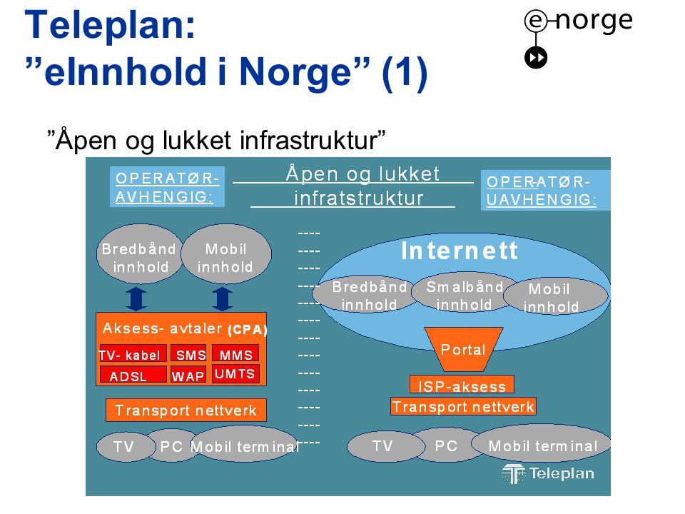 Teleplan: eInnhold i Norge (1) Åpen og lukket infrastruktur