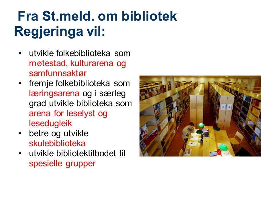 Fra St.meld. om bibliotek Regjeringa vil: •utvikle folkebiblioteka som møtestad, kulturarena og samfunnsaktør •fremje folkebiblioteka som læringsarena