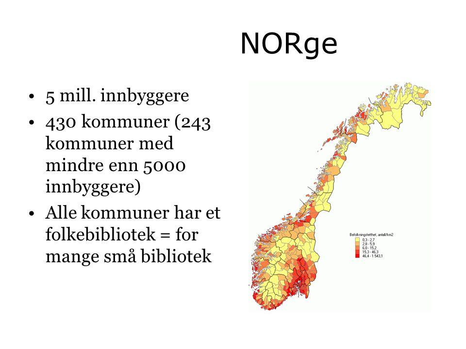 NORge •5 mill. innbyggere •430 kommuner (243 kommuner med mindre enn 5000 innbyggere) •Alle kommuner har et folkebibliotek = for mange små bibliotek