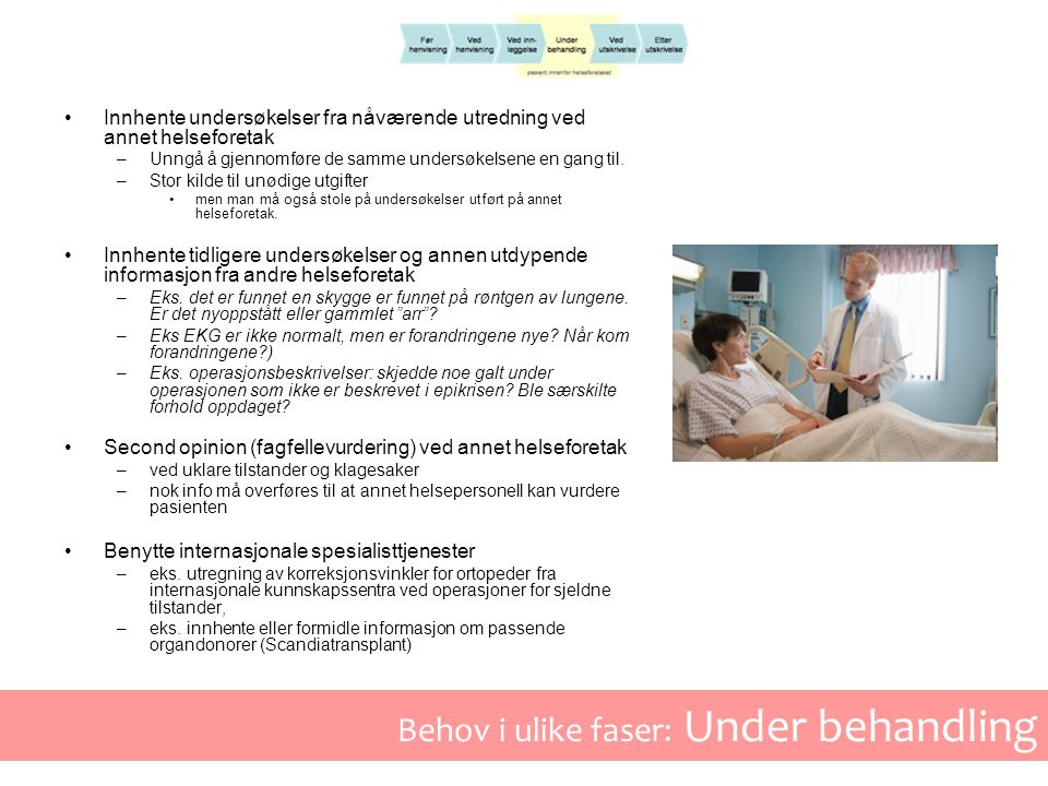 Behov i ulike faser: Under behandling •Innhente undersøkelser fra nåværende utredning ved annet helseforetak –Unngå å gjennomføre de samme undersøkelsene en gang til.