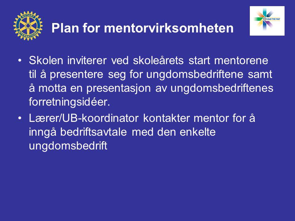 Plan for mentorvirksomheten •Skolen inviterer ved skoleårets start mentorene til å presentere seg for ungdomsbedriftene samt å motta en presentasjon a