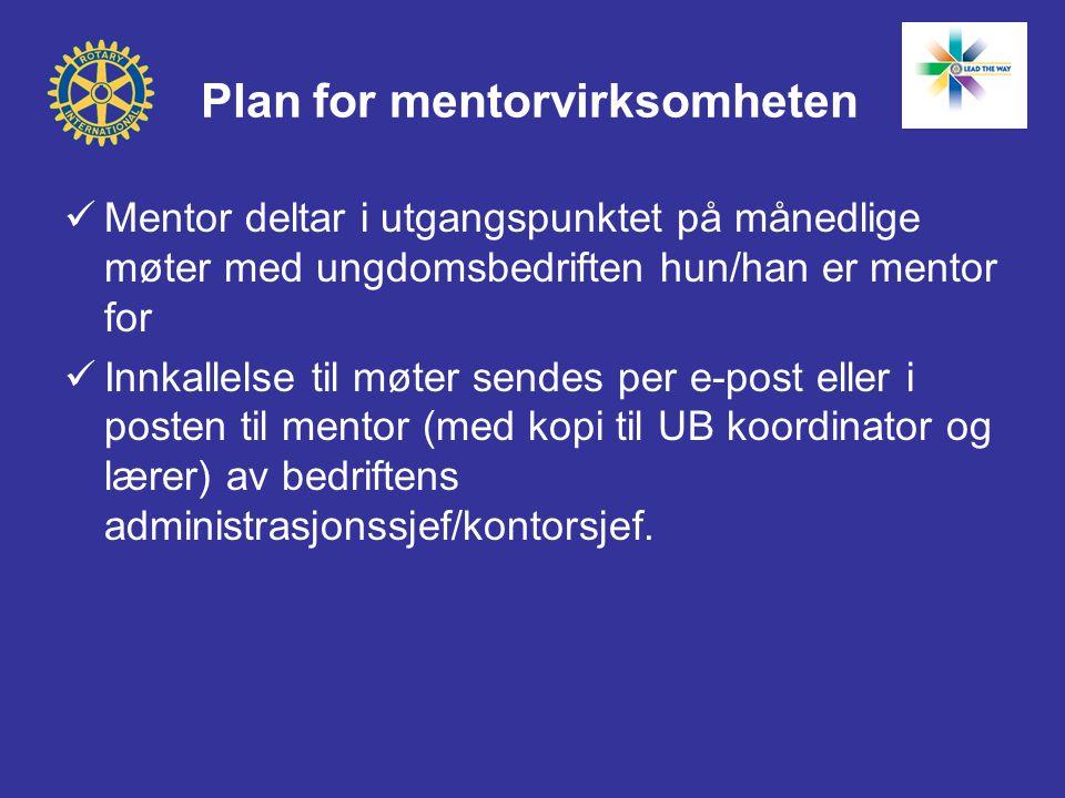 Plan for mentorvirksomheten  Mentor deltar i utgangspunktet på månedlige møter med ungdomsbedriften hun/han er mentor for  Innkallelse til møter sendes per e-post eller i posten til mentor (med kopi til UB koordinator og lærer) av bedriftens administrasjonssjef/kontorsjef.