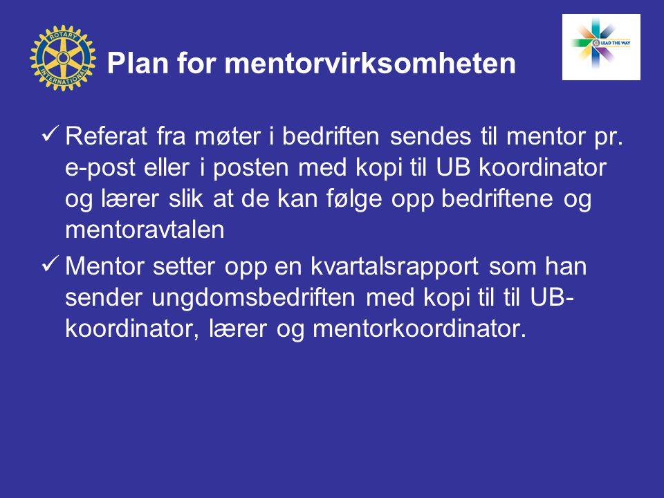 Plan for mentorvirksomheten  Referat fra møter i bedriften sendes til mentor pr. e-post eller i posten med kopi til UB koordinator og lærer slik at d