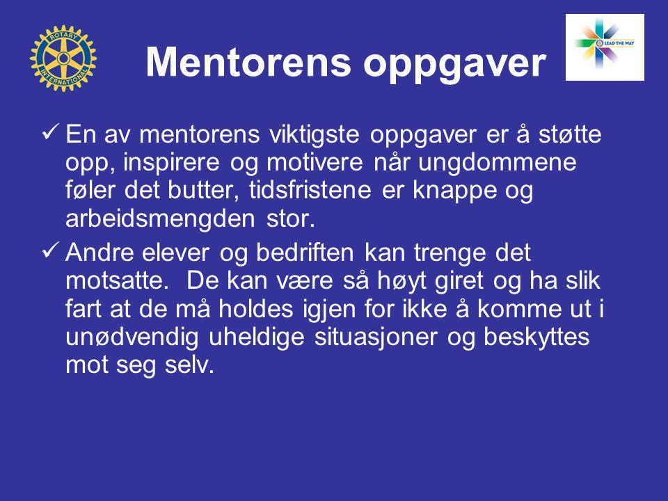 Mentorens oppgaver  En av mentorens viktigste oppgaver er å støtte opp, inspirere og motivere når ungdommene føler det butter, tidsfristene er knappe