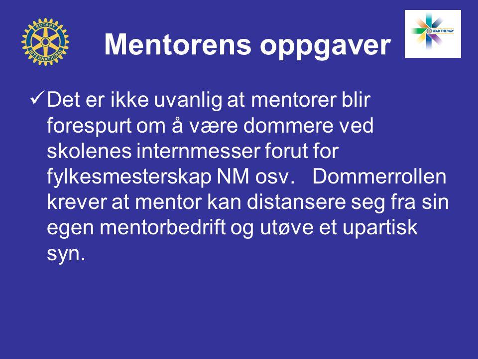 Mentorens oppgaver  Det er ikke uvanlig at mentorer blir forespurt om å være dommere ved skolenes internmesser forut for fylkesmesterskap NM osv. Dom