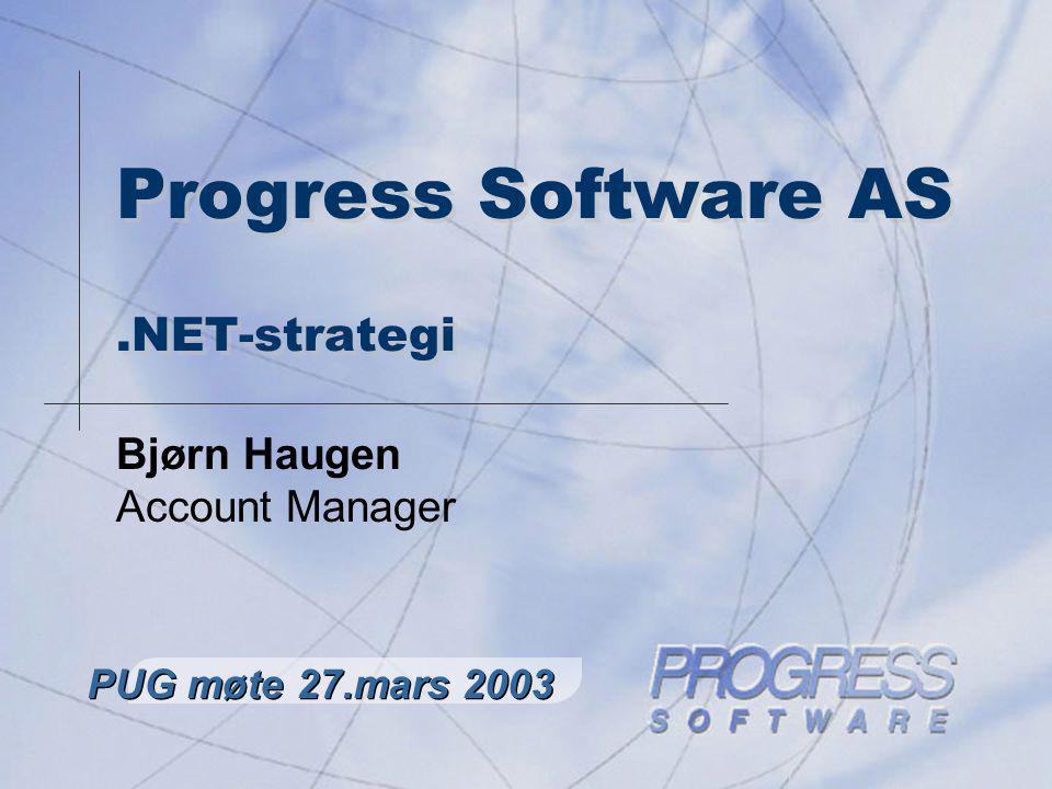 PUG Norway – Brukermøte mars 2003 2 Progress forhold til.NET Alternativ 1 : Ignorere trusselen, kjøre eget løp og forsøke å holde følge med Microsoft Alternativ 2 : Akseptere.NET som et godt alternativ, og jobbe frem en smidig løsning som gir fleksibilitet i forhold til.NET