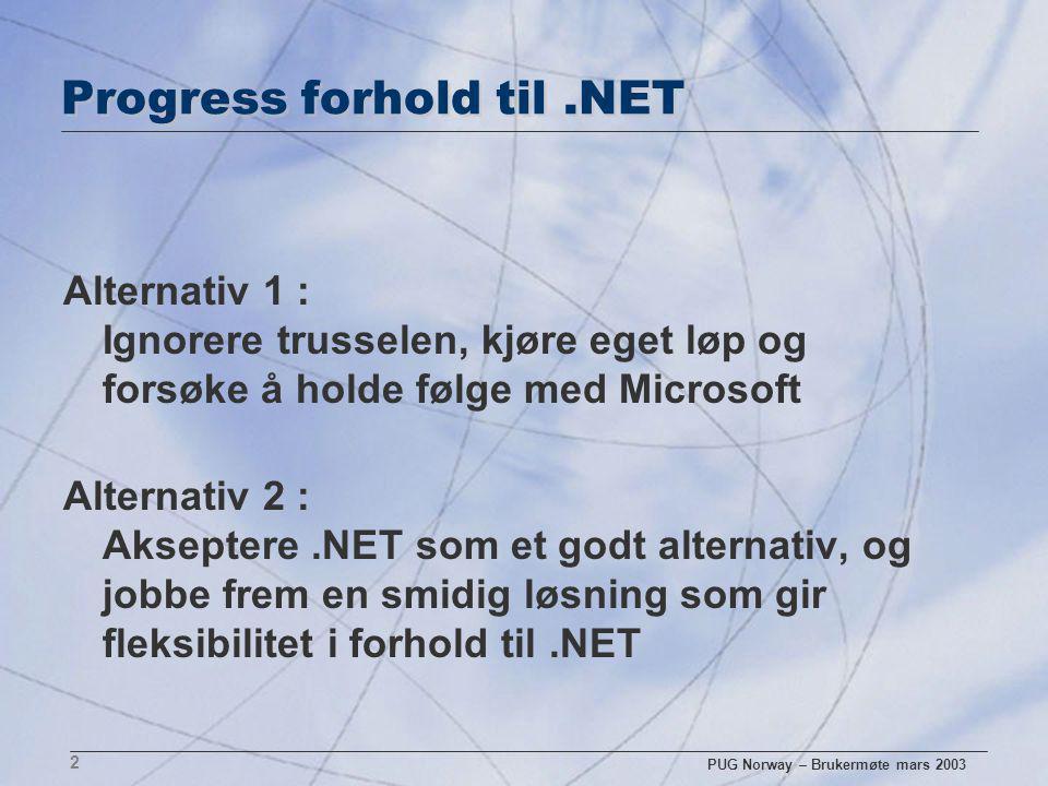 PUG Norway – Brukermøte mars 2003 3 Progress strategi.NET n Svaret er å jobbe sammen og ikke mot.NET n.NET vil bli en bedre partner enn konkurrent n.NET har styrker som Progress kan leve med n.NET kan faktisk styrke Progress sin posisjon HVORFOR DENNE STRATEGI?