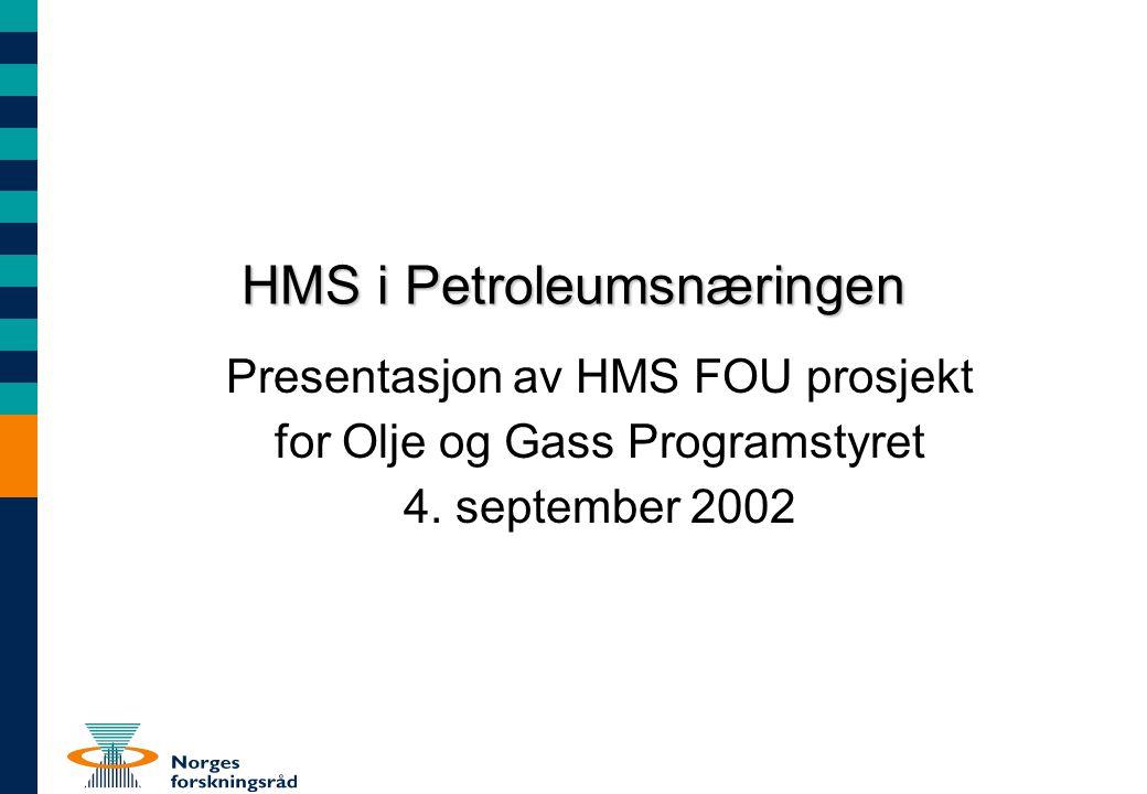 HMS i Petroleumsnæringen Presentasjon av HMS FOU prosjekt for Olje og Gass Programstyret 4. september 2002