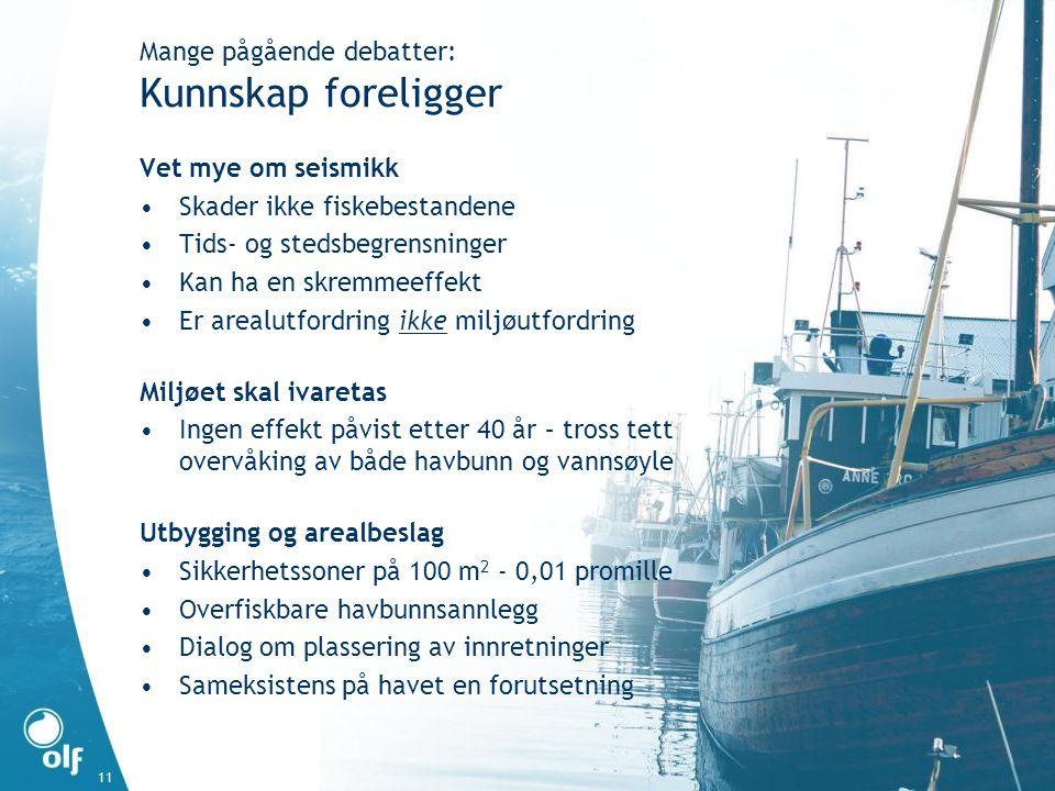 11 Vet mye om seismikk •Skader ikke fiskebestandene •Tids- og stedsbegrensninger •Kan ha en skremmeeffekt •Er arealutfordring ikke miljøutfordring Mil