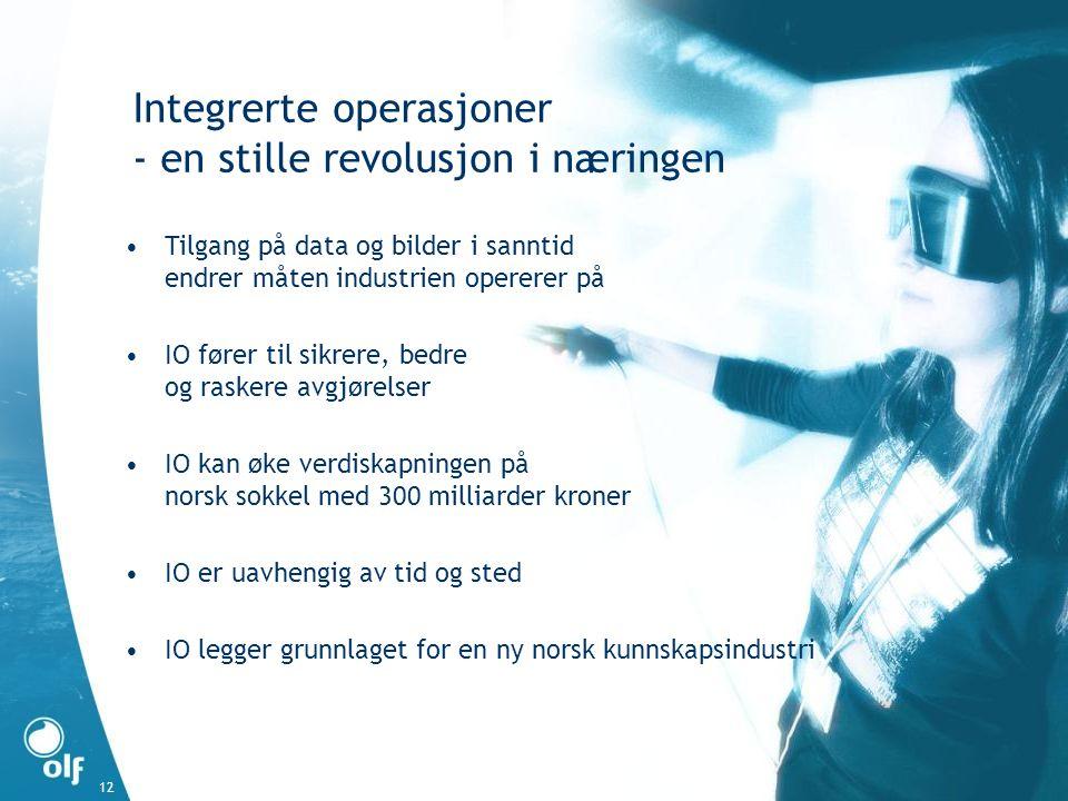 12 Integrerte operasjoner - en stille revolusjon i næringen •Tilgang på data og bilder i sanntid endrer måten industrien opererer på •IO fører til sikrere, bedre og raskere avgjørelser •IO kan øke verdiskapningen på norsk sokkel med 300 milliarder kroner •IO er uavhengig av tid og sted •IO legger grunnlaget for en ny norsk kunnskapsindustri